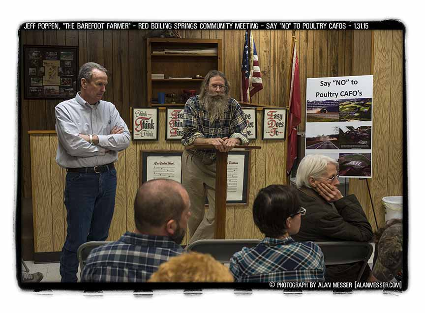 terry spence and jeff poppen at town hall meeting by alan messer